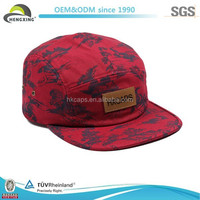 High Quality Flat Brim Custom Printing Leather Patch 5 Panel Hats