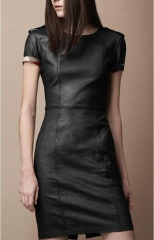 Lady's Hip Leather Thin Dress with short sleeves