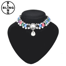 >>>Wholesale summer style noble imitation pearl green/blue/pink teardrop shaped elegant crystal women chokers choker necklace