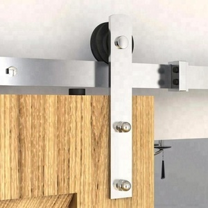 China Manufacturer Wooden Sliding Barn Door Track Hardware, Stainless Steel Satin Nickel Brushed Straight Hanging Roller