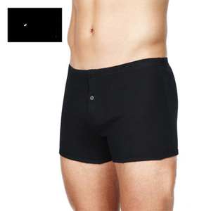 Bulk wholesale custom high quality black knitted fabric solid color big boys boxer short men with front button