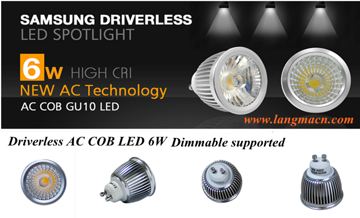 AC120V 230V driverless 6w ac cob gu10 led 2700K dimmable led spot light gu10