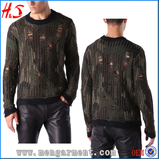 Latest Design Garment Casual Camouflage Sweater Pullover Sweater for Men