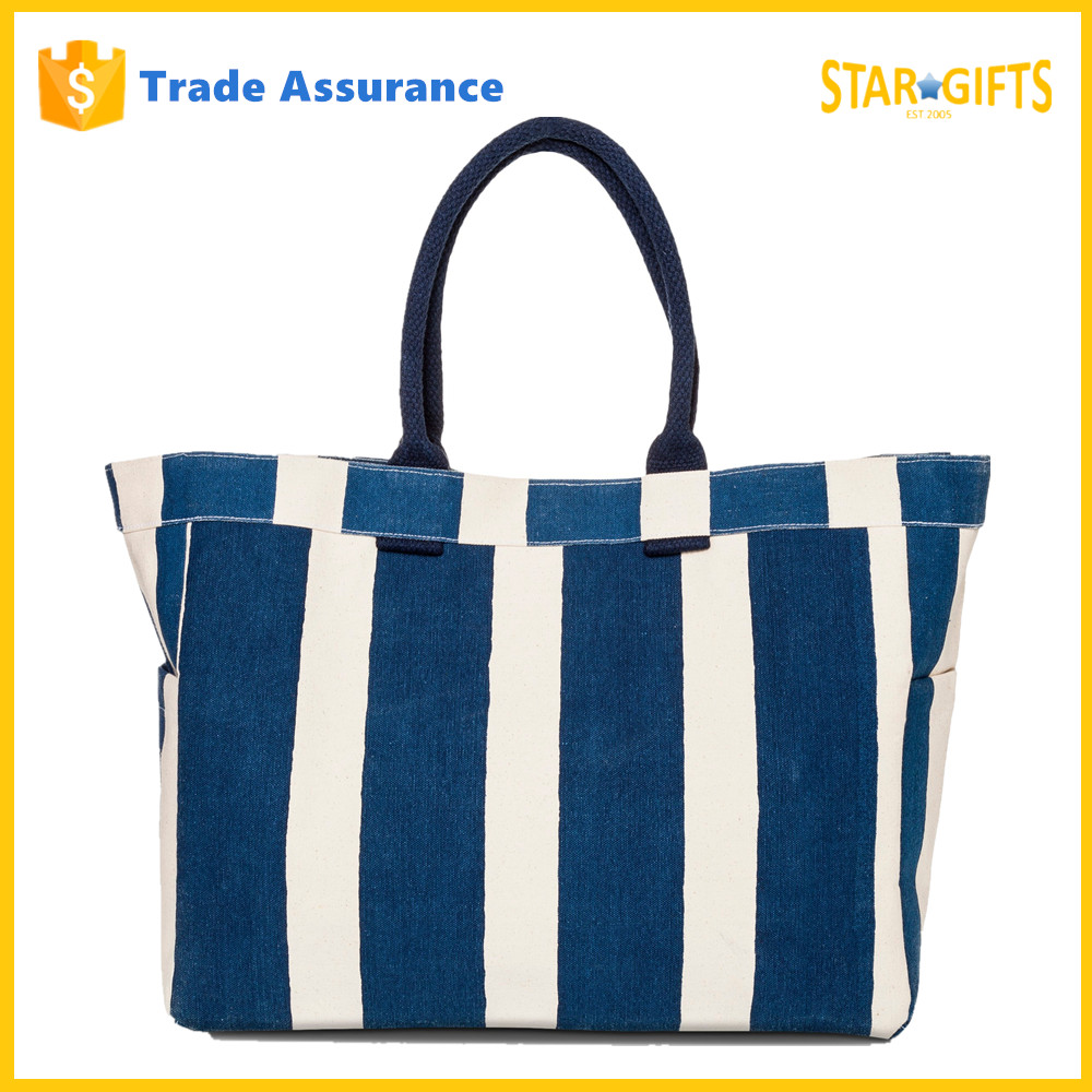 Wholesale 2016 Factory Price Stripe Canvas Shopping Bag With Side Pockets