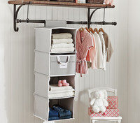 4 Shelves Simplicity Home Storage Closet Hanging Organizer With Drawer,Cotton Canvas Material
