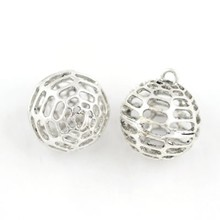 Pendant, Silver Round Ball Charm Brass Pendant, Pendant Necklace Fashion Jewelry Wholesale P4966