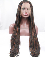 hot sale premium african american synthetic braided lace wig long braid wigs for black women heat resistant fiber brown hair