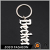 Popular fashion custom made metal keychains zinc alloy alphabet letters key ring with becker word
