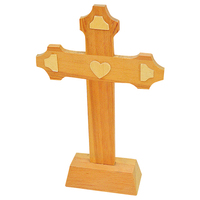 Wholesale decorative wood crafts pine carved standing cheap wooden crosses
