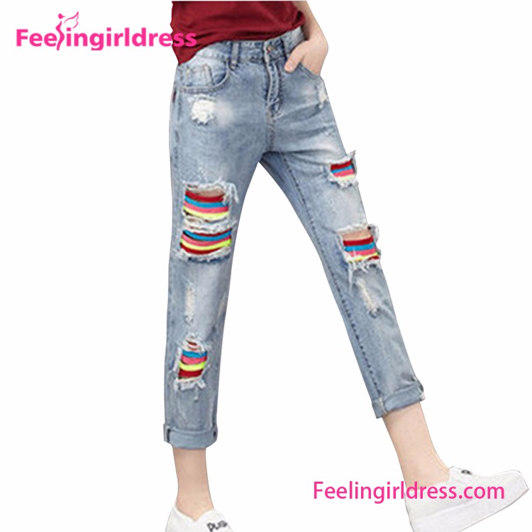 New Arrival Colourful Ripped Long Manufacturers Boyfriend Pictures Of Jeans Pants