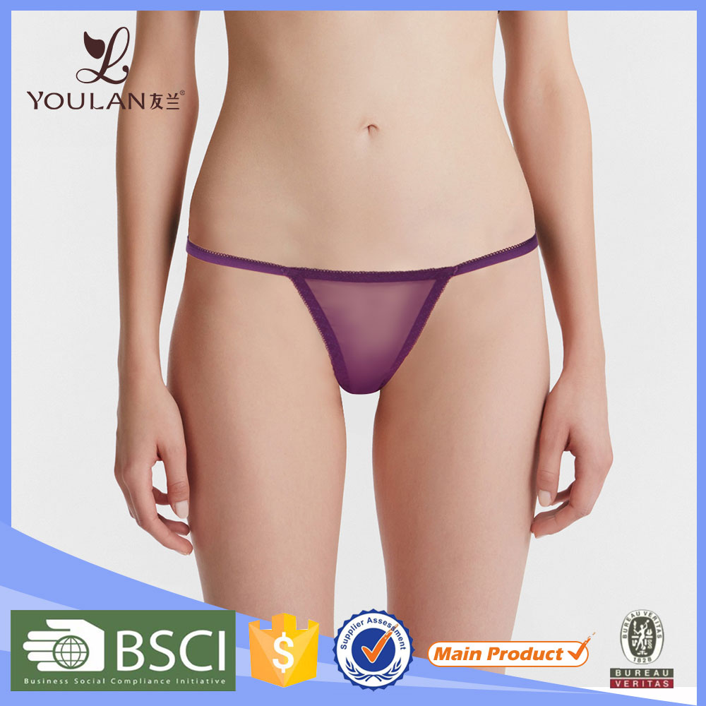 Romatic Sexy Slit Purple Elastic Women Underwear Sexy G-String