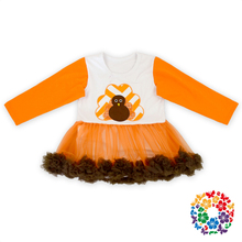 Thanksgiving Day Baby Girl Romper Snap Crotch Cotton Bodysuit Long Sleeve Tutu Romper Dress
