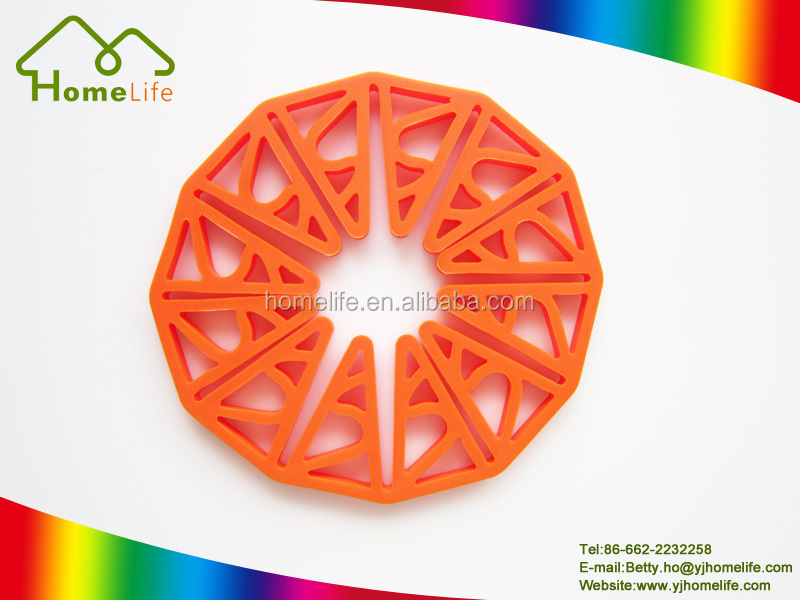 Popular design tableware orange color heat resistant silicone kitchen tableware pan mats