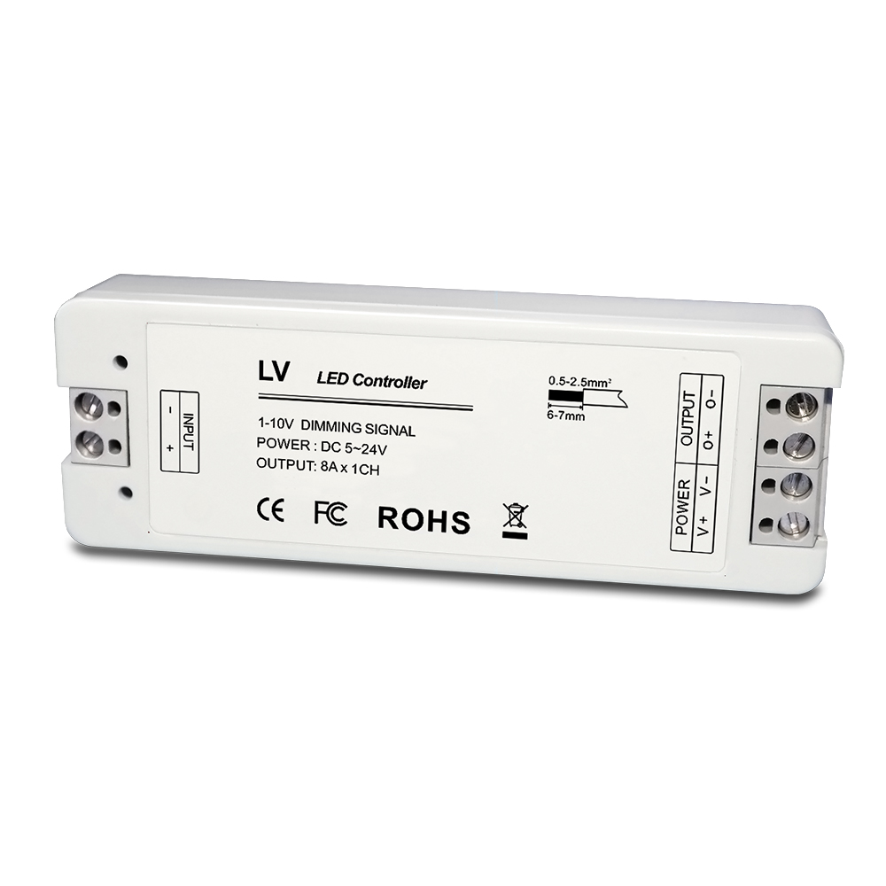 0/1-10V Constant Voltage LED Dimmer;DC5-24V input;8A*1CH output