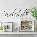 Butterfly Welcome to our home Vinyl Wall Decals Quotes Sayings Words Art Decor Lettering Vinyl Wall Art Inspirational Uplifting