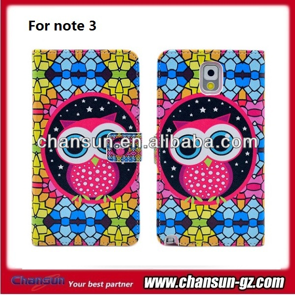 cute bird design wallet flip leater case for samsung galaxy note 3