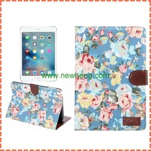 Luxury Flowers Cloth Pattern Wallet Style Flip PC + PU Leather Case For iPad mini 4