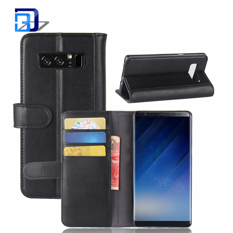 New Coming 100% Real Genuine Leather Cell Phone Wallet Case Flip Cover For Samsung Galaxy Note 8