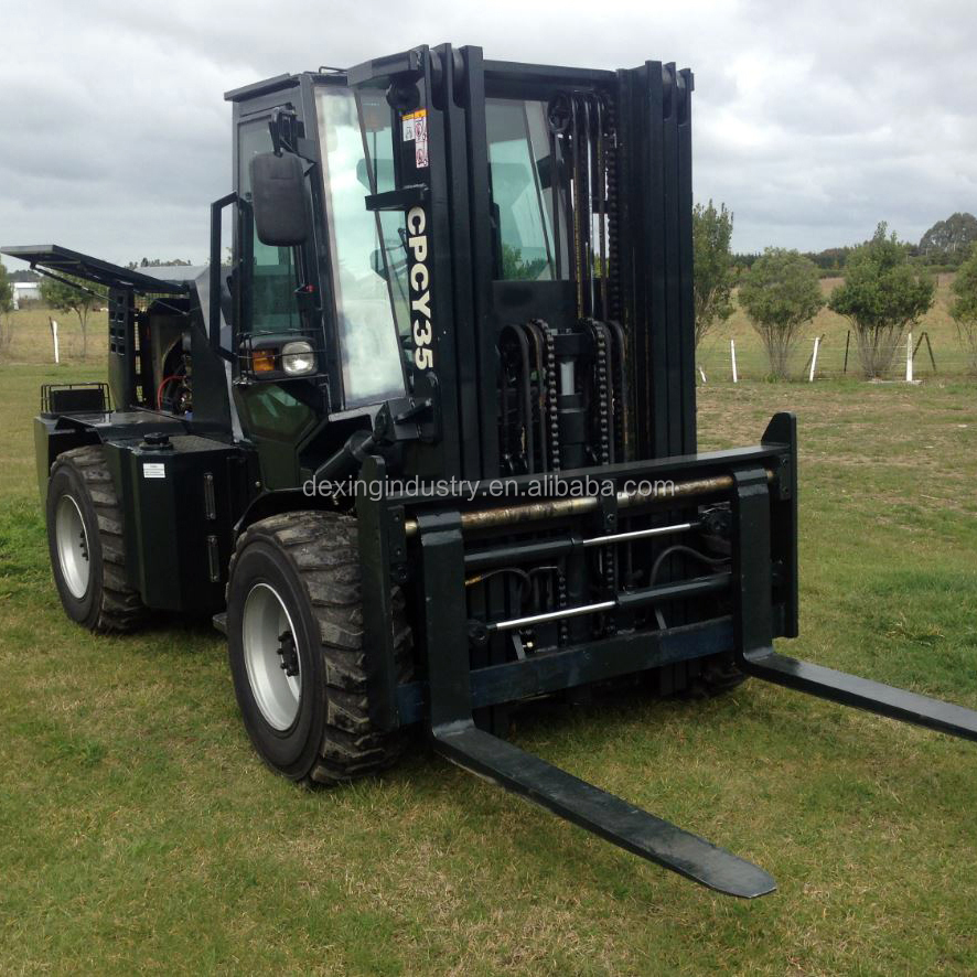 New High Ground Clearance All Terrain Fork Lift for Sale with 3 Stage Container Mast, Fork Positioner