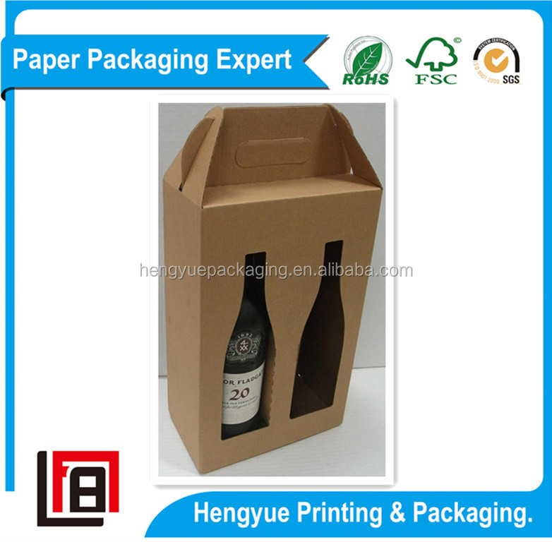 Delicate Corrugated Cartons Paper Gift Boxes for Wines with Die Cutting Window