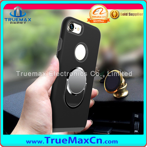Newest Cases for iPhone 7 Plus Car Holder Finger Ring Stand Covers for iPhone 7 with TPU+PC Hybrid Phone Back Shell