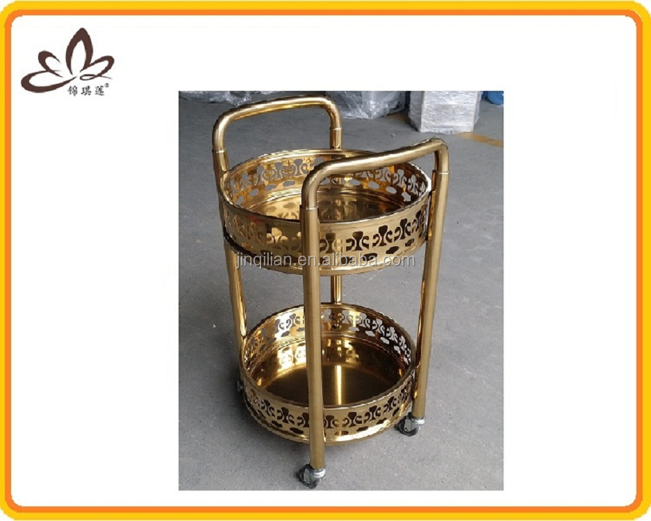 Gold-Plated Wine Service Cart With 4 Wheel Wine Rolling wine cabinet drinks gadget
