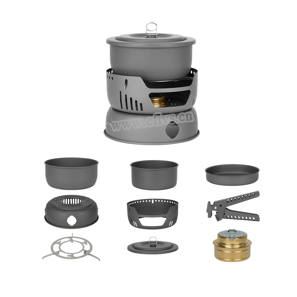 New products 2017 camping cookware (9piece)With alcohol burner for outdoor hiking and camping backpacking equipment