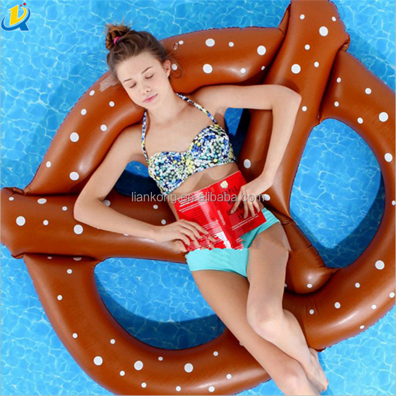 Cheap Hot sale High quality Promotional PVC inflatable pretzel donut pool float swimming rings