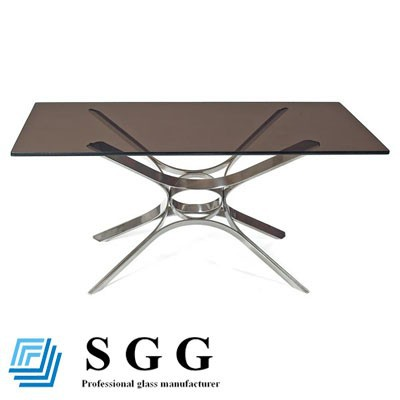 Decorative 3mm-12mm Colored Blue Green Grey Bronze Tempered Glass Table Top