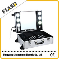 Wheeled Mobile Aluminum Trolley Vanity Makeup Case with Light