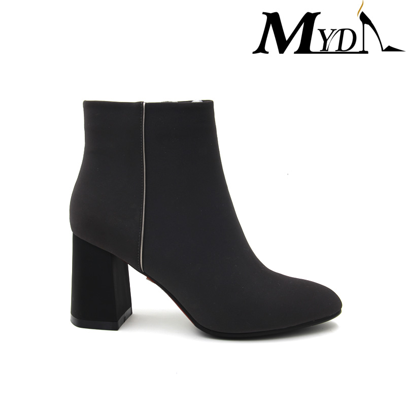 european style ladies fashion stacked heel cutout ankle boots