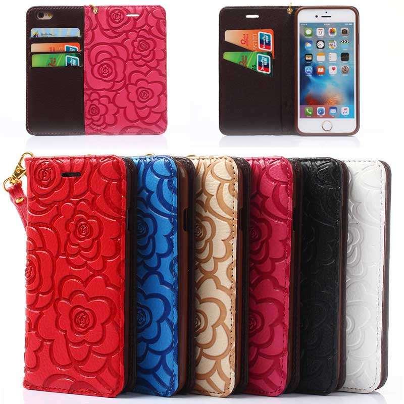 Fashion Design Sublimation Berry Leather Diary Mobile Phone Case for iPhone 7 with Lanyard