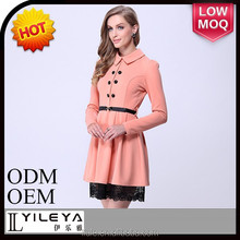 fashionable embroidered multicolored pink pictures office dress for ladies 2015