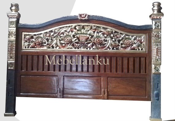 King bed airbrush solid teak