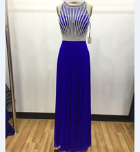 2018 Factory direct made hotsale sexy evening dress with strips beaded.Evening gown