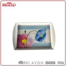 EU food contact standard rectangular lotus printing melamine carrying serving tray with handle