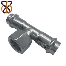 Stainless steel double card pressure connection to convert inner screw thread tee pipe fittings