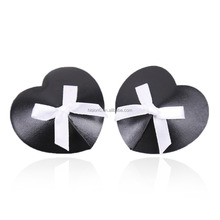Sexy Pretty Black Heart Decorative White Bowknot Nudebra Breast Covers Boobs Nipple Covers And Nipple Pasties