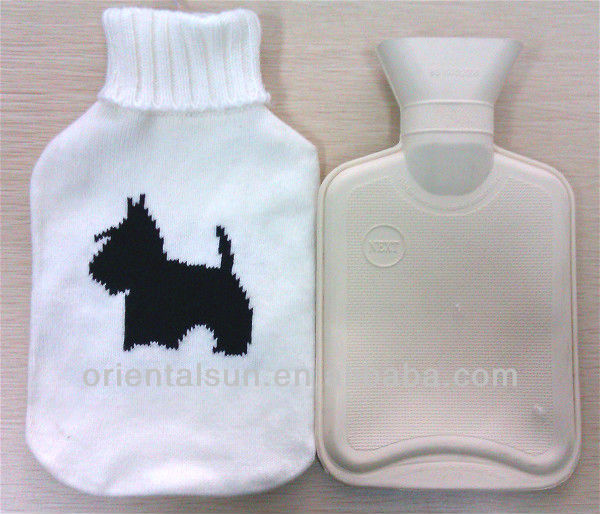 White Dog Knitted Hot Water Bottle With Cover