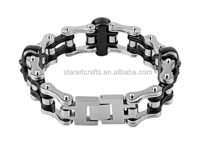 Hot Sale Boys Black 316L Stainless Steel Biker Motorcycle Chain Bracelet Skull Biker Chain Bracelet