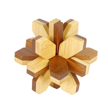 Eco-Friendly Bamboo Puzzle 3D IQ Brainteaser Burr Puzzle Toys for kids and Adult