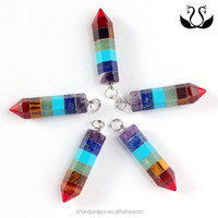Unique crystal seven color cone-shape chakra pendant