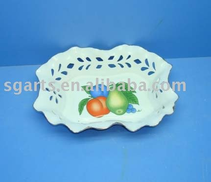 hollow out decoration design simple style ceramic fruit plate