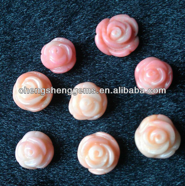 8mm natura half drill rose/flower shape pink coral beads for wholesale