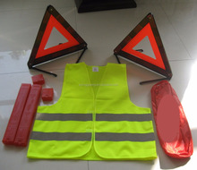 High Visibility Car Emergency Relective Safety Kit with Safety Vest and Warning Triangle