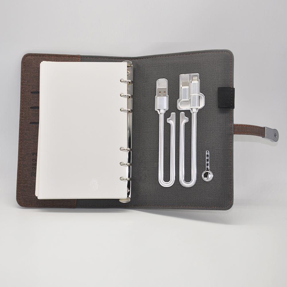 Wholesale A6 PU leather notebook with USB and power bank