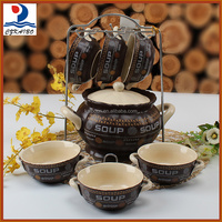 Good quality and cheap brown porcelain soup tureen with bowls