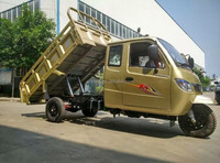 2016 high quality Chognqing heavy type 800CC dumper closed cabin triciclo garbage hydraumatic dump tricycle for cargo