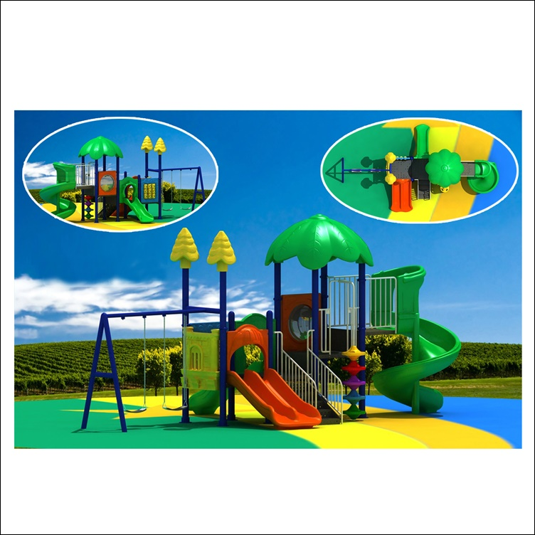 Cheap Plastic LLDPE kids outdoor playground equipment children playground slide with swing HF-G048A