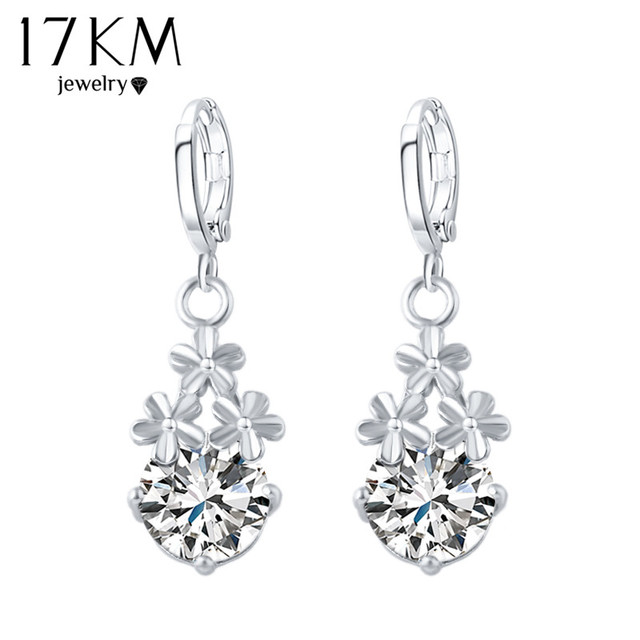 17KM 8 Colors Fashion New Crystal Flower Drop Earrings Gold Color Pendant Water Drop Earring Brincos Earrings For Women